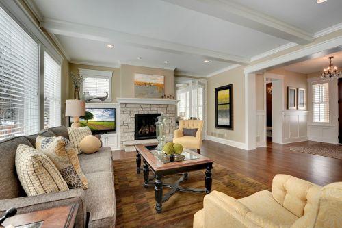 美式风格大气米色客厅装修效果图片