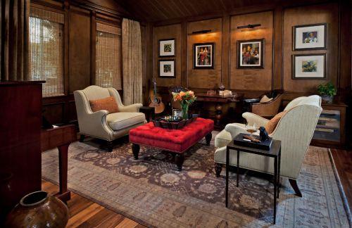 混搭风格质感红色客厅装修美图