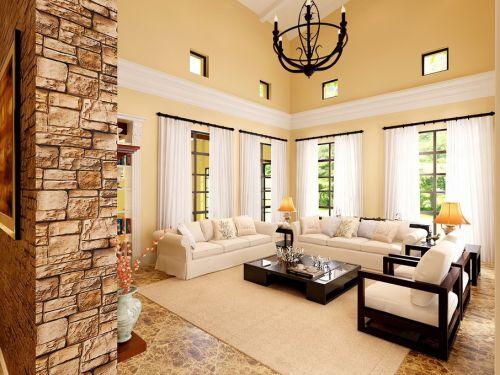 沉稳时尚米色混搭客厅图片欣赏