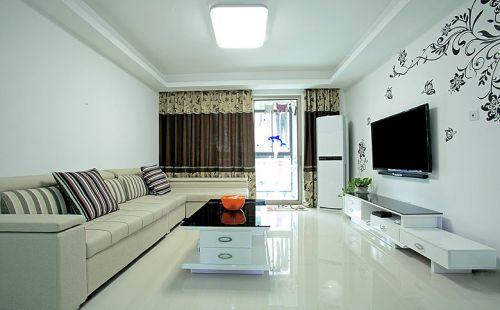 白色简洁混搭风格客厅装修案例