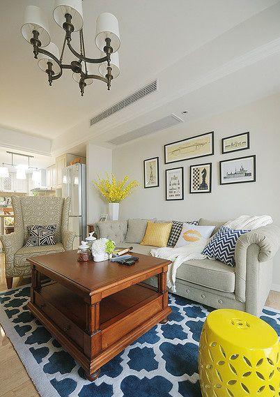 雅致清新时尚混搭风格客厅效果图设计