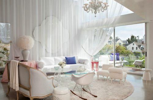 混搭风格白色客厅设计图片欣赏