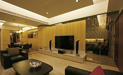 混搭风格黄色舒适客厅设计欣赏