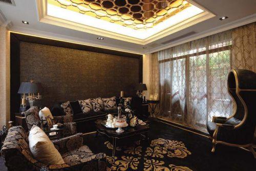 黑色质感美式风客厅设计装潢