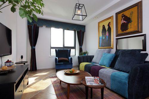 2016摩登混搭蓝色客厅效果图欣赏