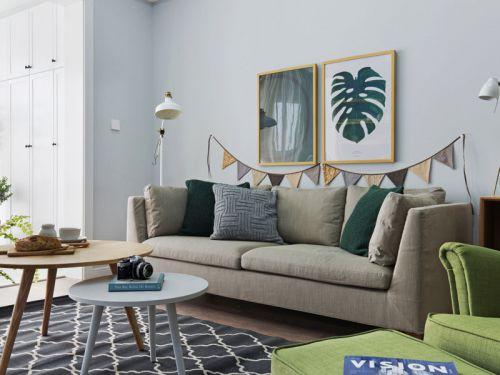 森系棉麻浅绿色系客厅设计