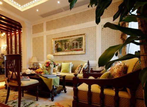 混搭风格素雅米色客厅装饰设计