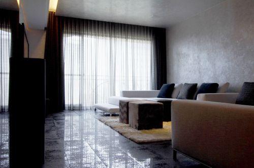 混搭灰色窗帘效果图设计