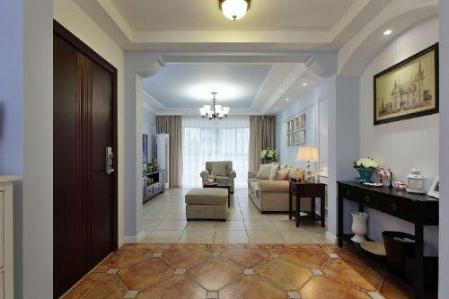 蓝色混搭风格客厅过道设计图