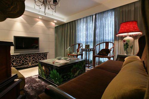 时尚个性中式混搭客厅布置