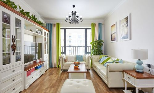 混搭风格清新白色客厅装修图