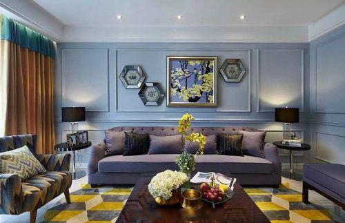 创意个性精致混搭蓝色客厅设计