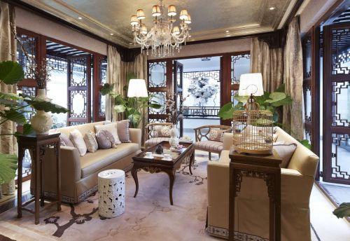 精致优雅中式与欧式混搭客厅欣赏