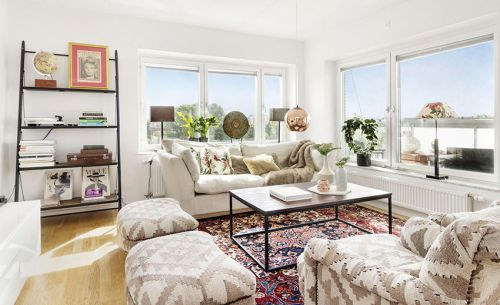 白色清新混搭风格客厅设计案例