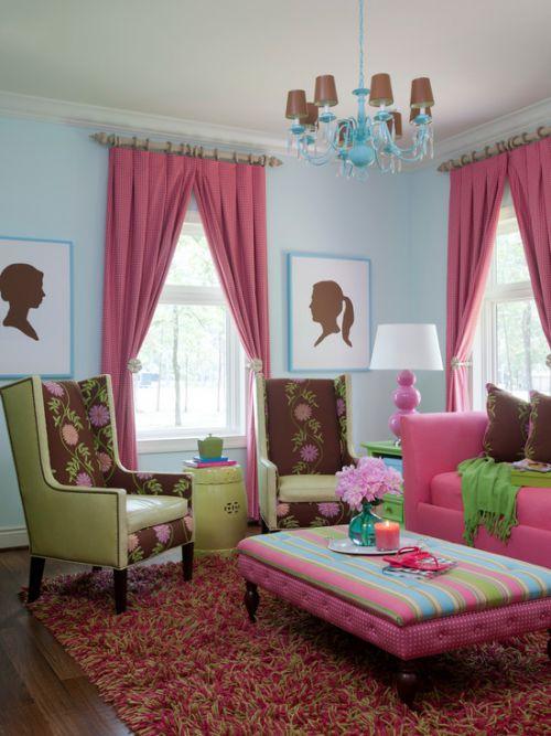 浪漫粉色混搭风格创意客厅装潢案例
