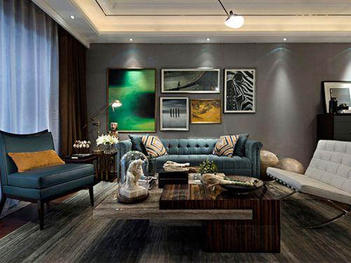 灰色混搭风低调客厅装修图片