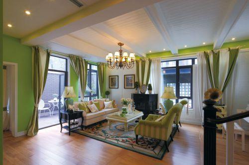 清新时尚绿色混搭风格客厅效果图