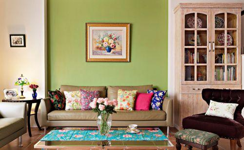 混搭风格清新绿色客厅装修图