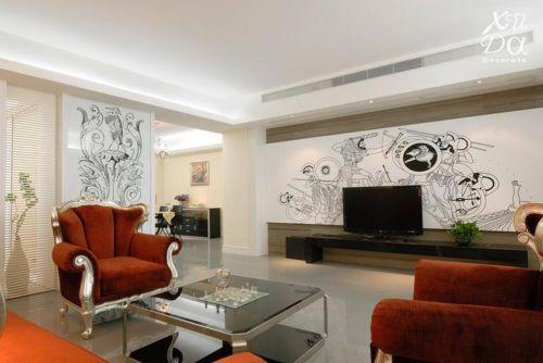 轻盈欧式混搭风格客厅设计美图