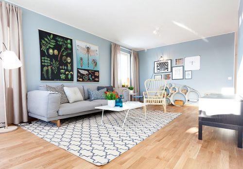 自然唯美蓝色文艺混搭风格客厅装潢图片
