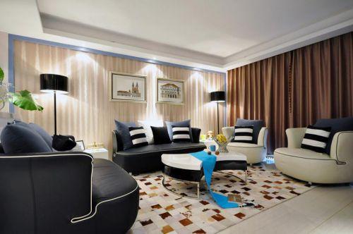 时尚凝练混搭风格客厅装潢装修效果图