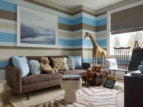 混搭风格蓝色质感客厅装修设计