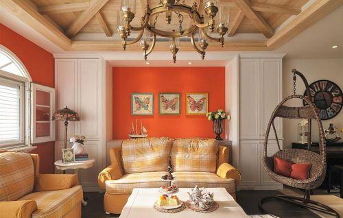 橙色温馨混搭风客厅装修设计
