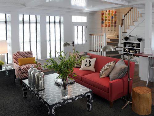 红色个性创意混搭客厅装修案例