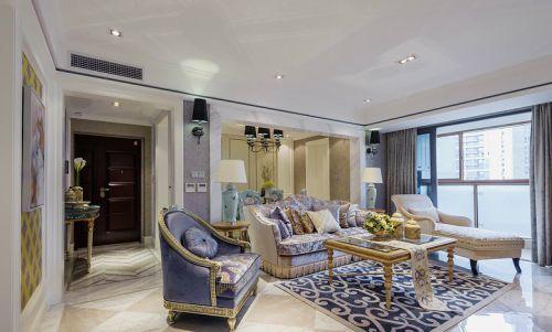 紫色素雅混搭风格客厅装潢设计