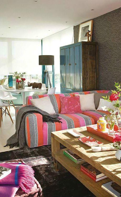 2015彩色混搭客厅装修设计