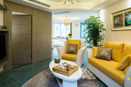混搭风雅致黄色客厅装潢设计