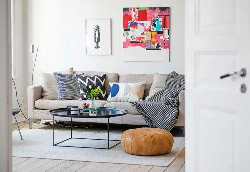 白色自然清新混搭风格客厅效果图欣赏