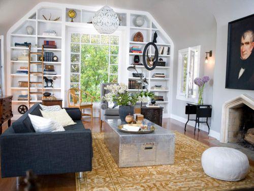 时尚灰色混搭风格客厅效果图欣赏