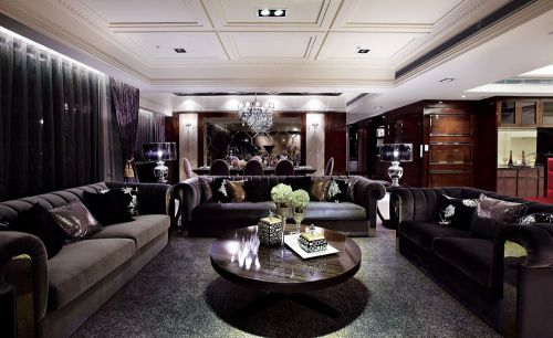 摩登雅致简欧黑色客厅装潢案例