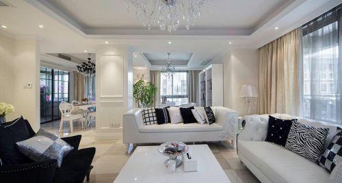 轻奢雅致简欧风格白色客厅效果图设计