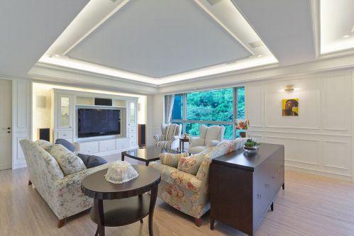 白色浪漫田园自然客厅装潢装修设计