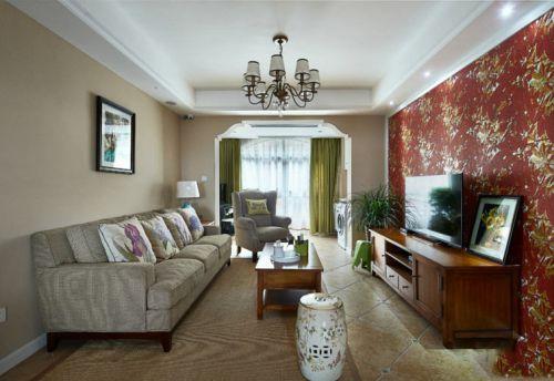 混搭风格米色温馨客厅图片赏析