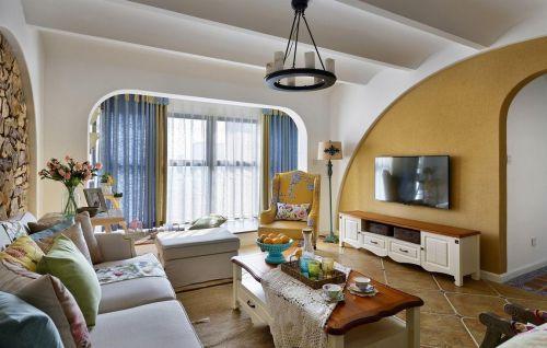 黄色温馨混搭风格客厅装修设计