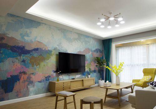 彩色宜家客厅背景墙设计