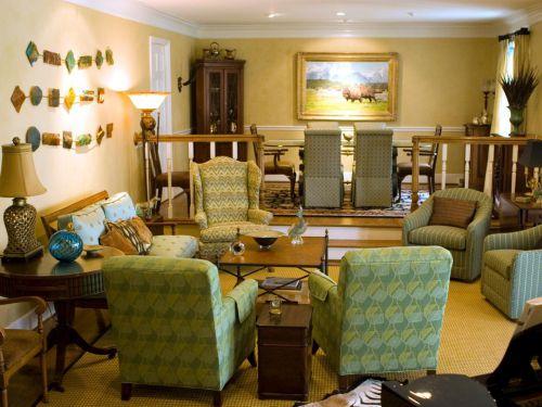 混搭美式风格黄色客厅装修图片