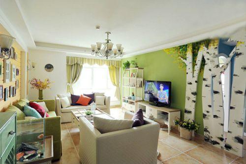 混搭风格绿色清新客厅装修设计
