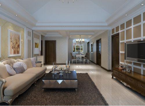 黄色简欧风格客厅设计案例