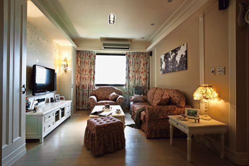 米色田园雅致浪漫风格客厅设计图片
