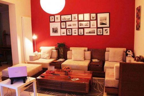 红色宜家风格客厅沙发照片墙设计图