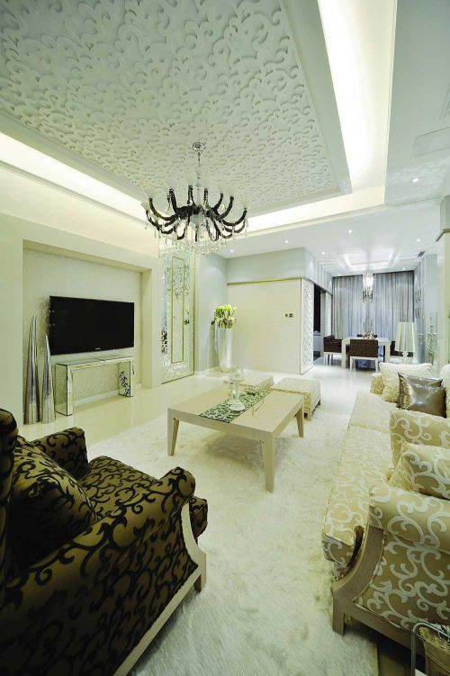 唯美浪漫简欧风格客厅设计装修