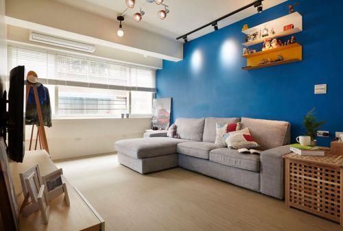 时尚宜家风格蓝色客厅装潢设计