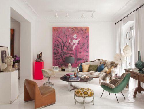 宜家风格清新白色客厅装修美图
