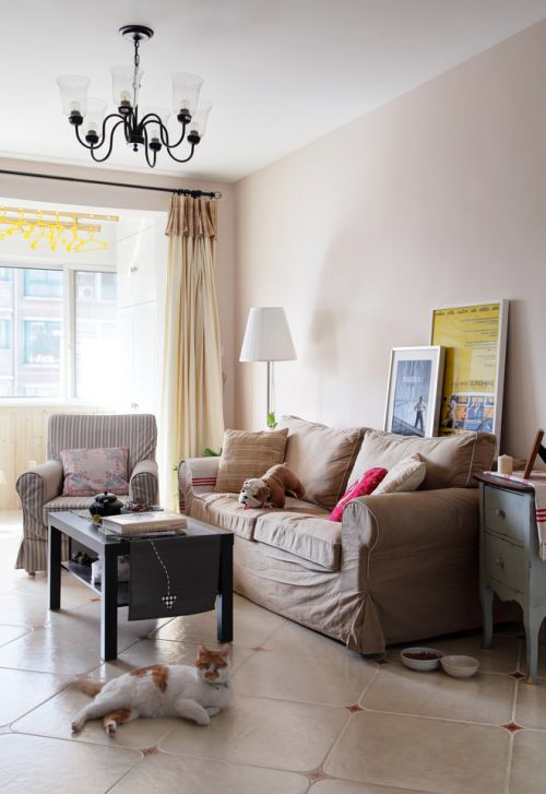 宜家风格清新白色客厅设计装潢