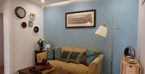 蓝色温馨宜家风格客厅装修案例