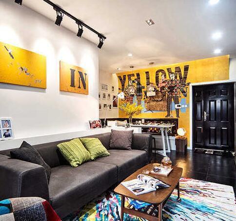 宜家工业风明黄客厅设计